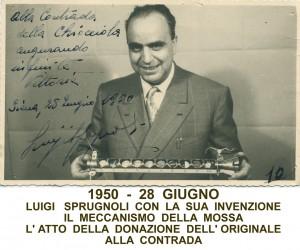 1950- 28 GIUGNO LUIGI SPRUGNOLI CON IL MECCANISMO DELLA MOSSA