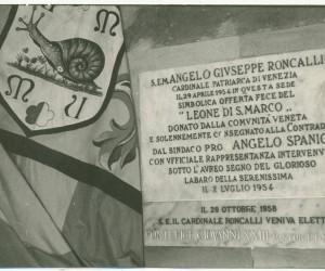 1958-LAPIDE POSTA ALL ' INGRESSO DELLA SEDE A RICORDO ELEZIONE A PAPA DI S.S.GIOVANNI XXIII PATRO